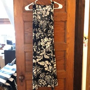 Floral black and white wrap dress
